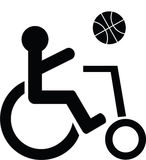Disabled symbol playing basketball. Illustration Royalty Free Stock Photography