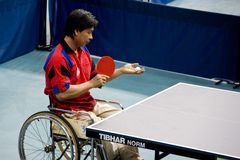Disabled table tennis player  Stock Images