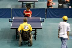 Disabled table tennis players Stock Photo