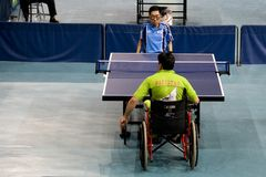 Disabled table tennis players Stock Image