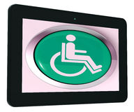 Disabled Tablet Shows Wheelchair Access Or Handicapped Stock Images