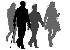 Disabled on a walk. Graphic disabled and women on a walk. Silhouettes on a white background Royalty Free Stock Image