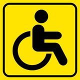 Disabled. Warning sign. Man in wheelchair. Black on yellow. Vector. Illustration Stock Photo