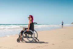 Disabled woman at the beach Royalty Free Stock Photo