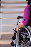 Disabled woman can't get upstairs Royalty Free Stock Photo
