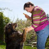 Disabled woman is feeding a dog. Mentally disabled woman is feeding a dog Stock Photo