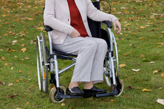 Disabled woman on freshair Royalty Free Stock Photos