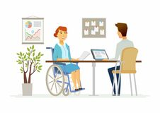 Disabled woman in the office - modern cartoon people characters illustration Stock Images