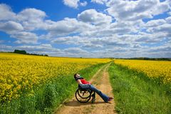Disabled woman sunbathing on a wheelchair, rape field, spring Stock Photo