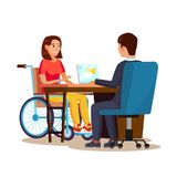 Disabled Woman Vector. Equal Opportunities Concept. leading Happy Life. Cartoon Character Illustration Royalty Free Stock Image