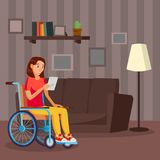 Disabled Woman Vector. Living With Disability. Smiling Disabled Female. vector illustration