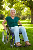 Disabled woman in wheelchair Royalty Free Stock Image