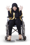 Disabled woman on wheelchair and looks frustrated Stock Photos