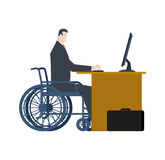 Disabled at work. manager on wheelchair at table. Equal rights f. Or people with disabilities Stock Photography