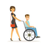 Disabled young man in wheelchair, smiling female friend or volunteer helping him, healthcare assistance and stock illustration