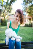 Disabled young woman with dog royalty free stock photography