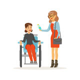 Disabled young woman in wheelchair, smiling female friend or volunteer helping her, healthcare assistance and. Accessibility colorful vector Illustration on a Royalty Free Stock Images