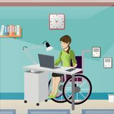 Disabled young woman in wheelchair working in office. vector illustration
