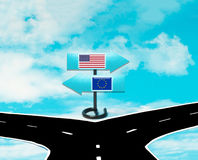 Disaccordi fra gli Stati Uniti e l'UE Fotografie Stock