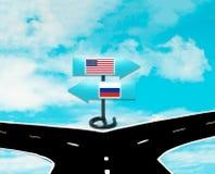 Disaccordi fra gli Stati Uniti e la Russia Immagini Stock Libere da Diritti