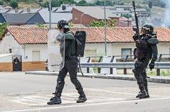 Disaccordi fra i minatori e l'anti polizia di tumulto Fotografie Stock Libere da Diritti