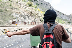 Disaccordi fra i minatori e l'anti polizia di tumulto Immagini Stock