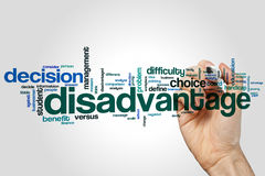 Disadvantage word cloud. Concept on grey background Stock Images