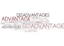 Disadvantage Word Cloud Concept. Disadvantage Text Background Word Cloud Concept Stock Photos