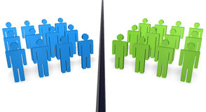 Disagree People. Two teams of 3d people with different color separated from a ditch Royalty Free Stock Photo