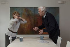 Disagreement between elderly spouses Royalty Free Stock Photos