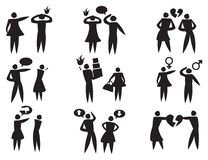 Disagreement Between Man Woman in Relationships Vector Icon Set Royalty Free Stock Photo