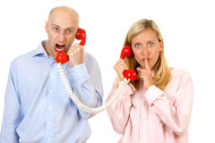 Disagreement on telephone Stock Image