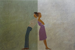 Disagreements and differences of men and women. Paper texture Stock Photos