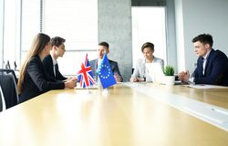 Disagreements between the leaders of the European Union and Great Britain at the meeting. Brexit. Disagreements between the leaders of the European Union and Royalty Free Stock Photography