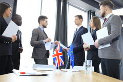 Disagreements between the leaders of the European Union and Great Britain at the meeting. Brexit. Stock Photography