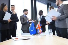 Disagreements between the leaders of the European Union and Great Britain at the meeting. Brexit. Stock Photos