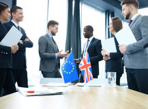 Disagreements between the leaders of the European Union and Great Britain at the meeting. Brexit. Royalty Free Stock Photos