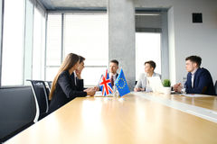 Disagreements between the leaders of the European Union and Great Britain at the meeting. Brexit. Royalty Free Stock Image