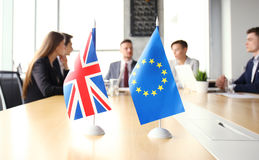 Disagreements between the leaders of the European Union and Great Britain at the meeting. Brexit. Royalty Free Stock Photo
