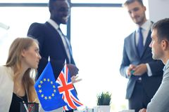 Disagreements between the leaders of the European Union and Great Britain at the meeting. Brexit. Disagreements between the leaders of the European Union and stock photos