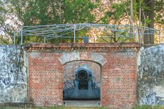Disappearing carriage gun at Phi Sua Samut Fort, the public plac. E in Thailand. Disappearing carriage gun is an obsolete type of artillery which enabled a gun Stock Image