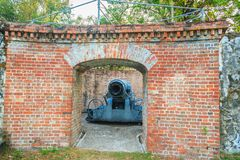 Disappearing carriage gun at Phi Sua Samut Fort, the public plac. E in Thailand. Disappearing carriage gun is an obsolete type of artillery which enabled a gun Stock Images