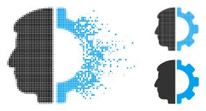 Disappearing Dot Halftone Android Head Icon. Android head icon in fractured, dotted halftone and entire versions. Elements are arranged into vector disappearing royalty free illustration