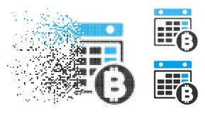 Disappearing Dot Halftone Bitcoin Calendar Icon. Bitcoin calendar icon in disappearing, dotted halftone and undamaged solid versions. Elements are grouped into royalty free illustration
