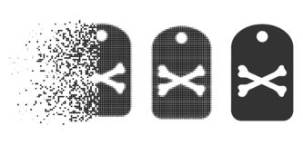 Disappearing Dot Halftone Death Tag Icon. Death tag icon in disappearing, pixelated halftone and undamaged whole variants. Elements are combined into vector stock illustration