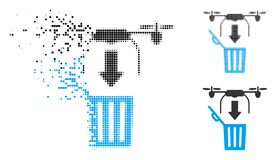 Disappearing Dot Halftone Drone Drop Trash Icon. Drone drop trash icon in fragmented, pixelated halftone and solid variants. Points are organized into vector royalty free illustration