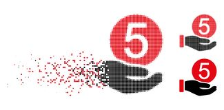 Disappearing Dot Halftone Five Cents Payment Icon. Five cents payment icon in dispersed, dotted halftone and undamaged whole variants. Pieces are arranged into vector illustration