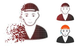 Disappearing Dot Halftone Gay Dude Icon. Gay dude icon with face in sparkle, pixelated halftone and undamaged entire variants. Elements are composed into vector royalty free illustration