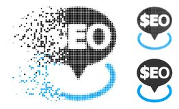Disappearing Dot Halftone Geotargeting Seo Icon. Geotargeting seo icon in dissolved, pixelated halftone and solid variants. Particles are organized into vector vector illustration