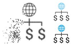 Disappearing Dot Halftone Global Payments Icon. Global payments icon in disappearing, dotted halftone and undamaged whole versions. Pixels are grouped into vector illustration
